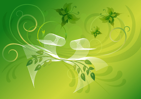 Bright green greeting card with butterflies and white bow Vector