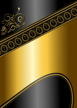 Golden pattern and border with crosses on black glossy  Illustration