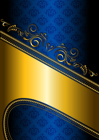 Gold border on a blue patterned  Vector