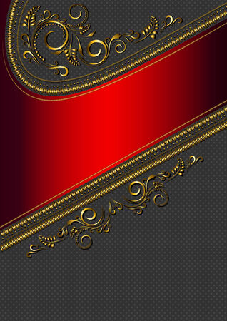 Red border with gold pattern  on black   in flecked