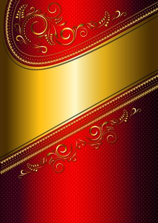 solemn: Festive red card with gold border and gold pattern