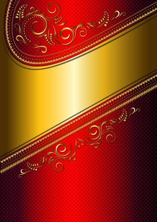 solemn: Tarjeta festiva rojo con borde de oro y el patr�n oro