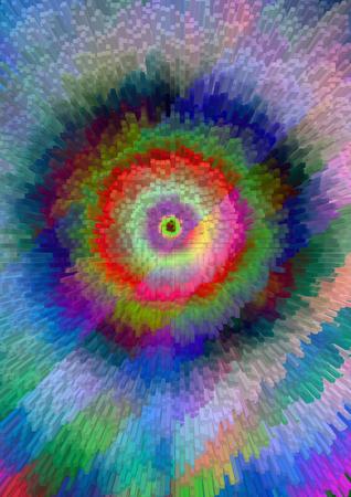 divergent: Bright  divergent circles  educated  of  color  square  blocks