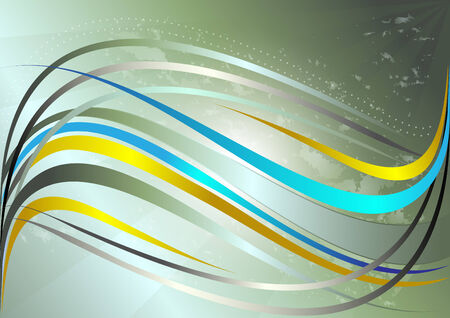 Shiny yellow and blue wavy stripes on a green background Vector