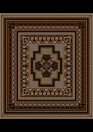 Unique carpet pattern in brown tones Vector