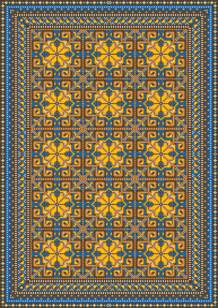 Design for variegated carpet with brown and yellow tones Vector
