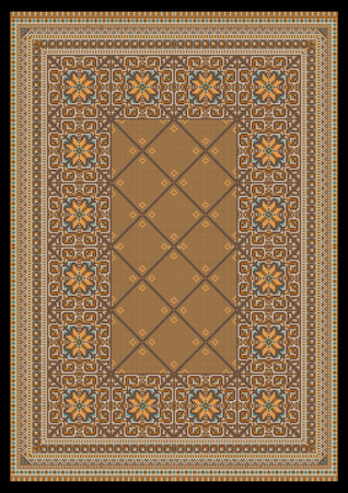 Luxurious ornament in light brown shades for classic carpet  Vector