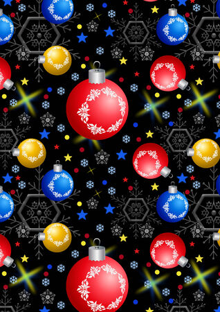 Christmas balls, snowflakes and stars on a black background photo