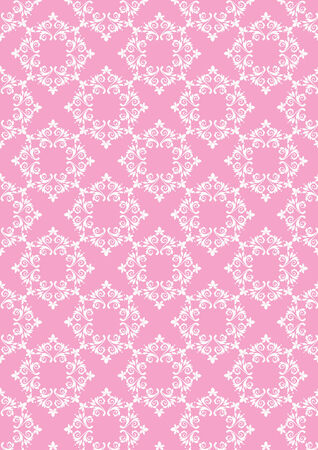 imagery: Delicate pale pink  background with white floral pattern