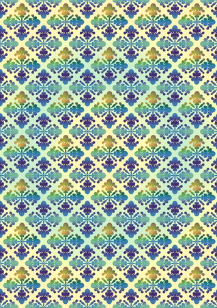 greenish blue: Greenish yellow seamless background with blue yellow floral pattern