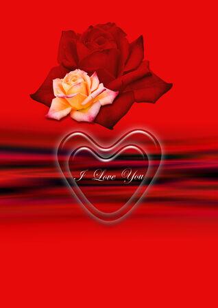 yellow roses: Fondo rojo ondulado brillante con el coraz�n transparente y rosas rojas y amarillas