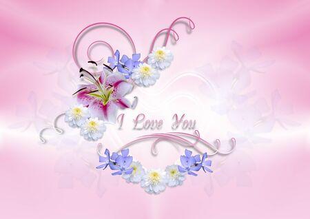 lirio blanco: Corazones transparentes cubiertas con el lirio blanco con flores y rizos