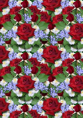 roses rouges: Contexte de bouquet de roses rouges avec asters et la pervenche