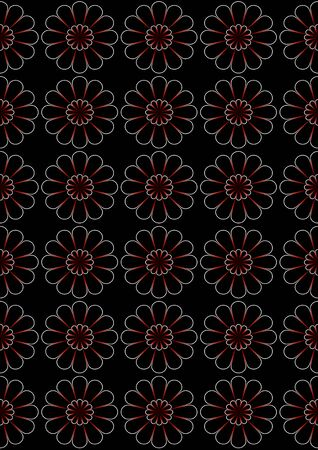 superimposed: Abstract black seamless background of superimposed on each other bright daisies