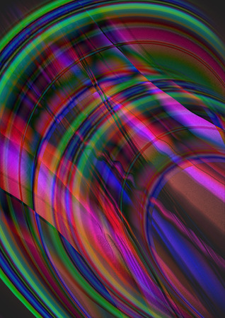 iridescent: Colored iridescent segments overlay on wavy flow strips Stock Photo