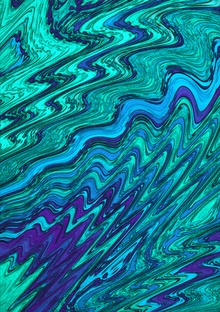 vibrating: Abstract background ofchaotic motion blue and green zigzag strips Stock Photo