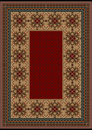 oriental rug: luxurious vintage oriental rug with original pattern with  burgundy shades Illustration