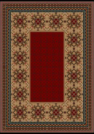 oriental rug: luxurious vintage oriental rug with original pattern with  burgundy shades Illustration
