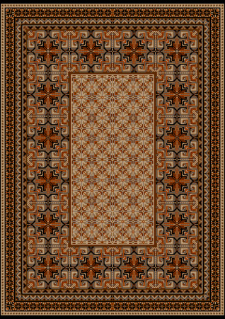 oriental rug: luxurious vintage oriental rug with original pattern with  brown shades