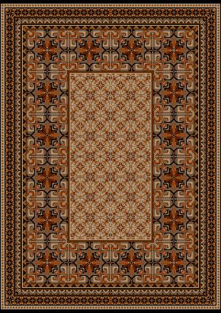 oriental rug: luxurious vintage oriental rug with original pattern with  brown shades
