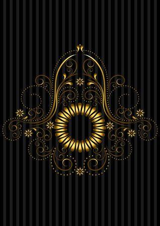 openwork: Vintage gold circular patterned frame with openwork floral pattern Illustration