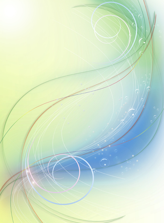 the greenish: Greenish blue background with curls, curved lines and bubbles