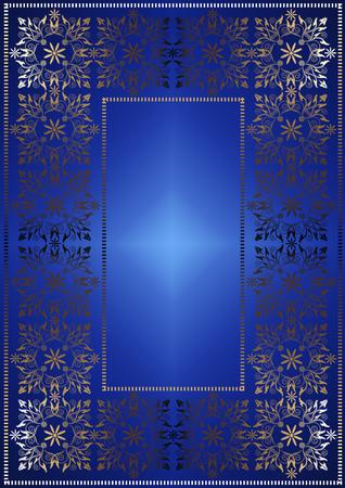 openwork: The gilded iridescent openwork frame on bluesatin gradient background Stock Photo