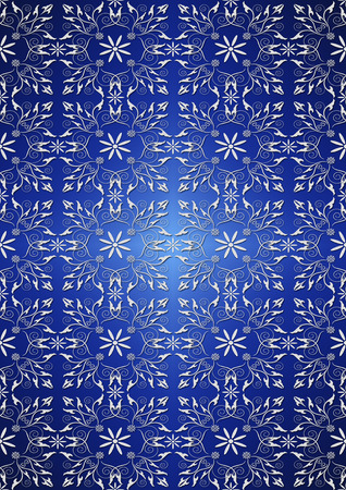 classical arts: White floral seamless pattern on blue gradient background
