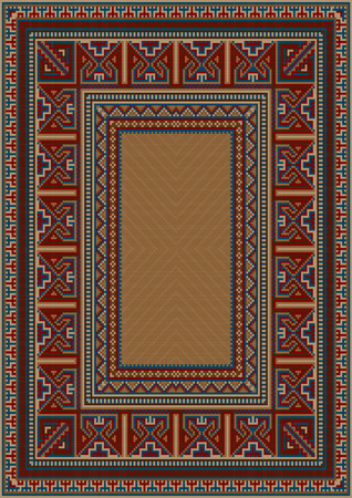 red rug: Vintage carpet with ethnic geometrical pattern on borders Illustration