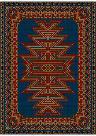 oriental rug: Bright oriental carpet with original pattern on a blue background