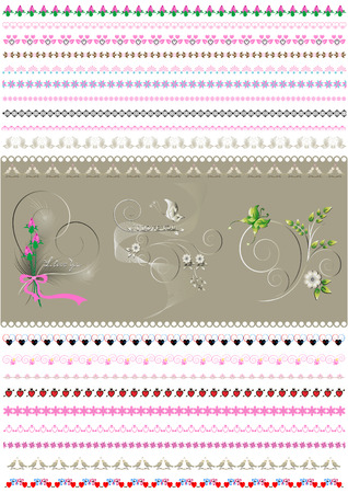 patterned: Patterned calligraphic border to to women holidays Illustration