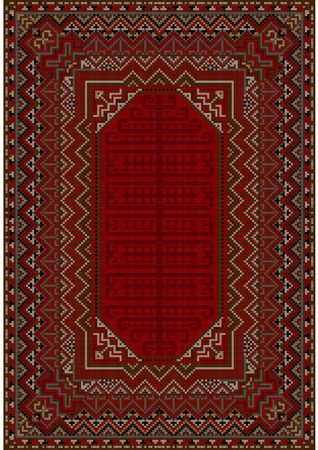 red rug: luxurious bright vintage oriental rug with red and brown shades