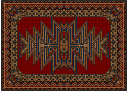 red carpet background: Bright oriental carpet with original pattern on a red background