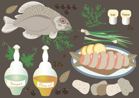 greens: Fish with products potatoes, onions, greens