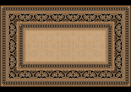 monophonic: Design carpet with ethnic ornament on the sides and monophonic center