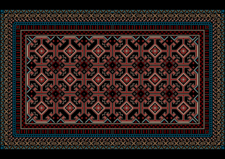 mottled: Mottled oriental carpet with original pattern on a black background Illustration