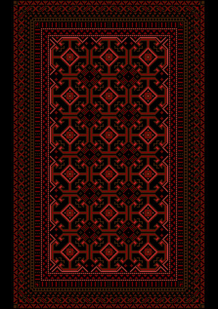 motley: Motley carpet with a burgundy pattern on a black background