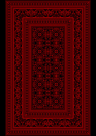 monophonic: Design carpet with ethnic monophonic ornament in red and burgundy shades Illustration