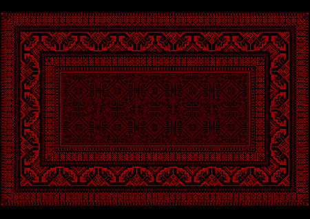 red rug: Design rug with bright border in red and burgundy shades