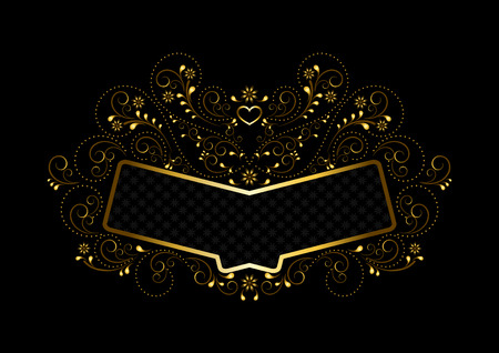 openwork: Gold frame with ornament in gold openwork floral framing on a black background