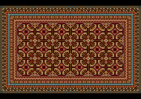 red rug: Design ornament for an old carpet in red and maroon hues