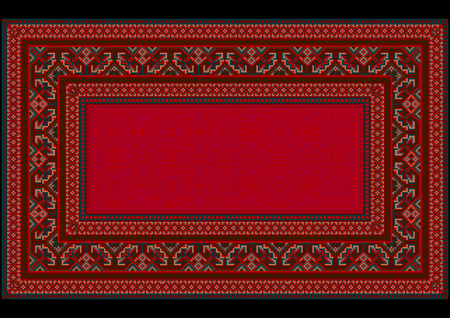 frame less: Bright pattern in red shadestocarpetin ancient stylewith motley border