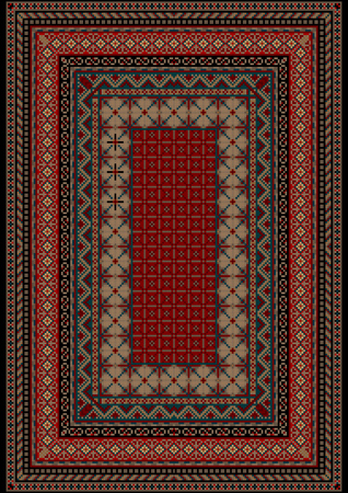 frame less: Pattern old carpet with motley ornament on the border and burgundy mid Illustration