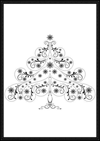 Black tracery Christmas tree with snowflakes and beads on a white background