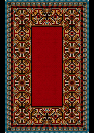 frame less: Old carpet with colored ornament on the border of and  red on mid Illustration