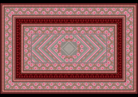 grey rug: Carpet withpattern from pink roses