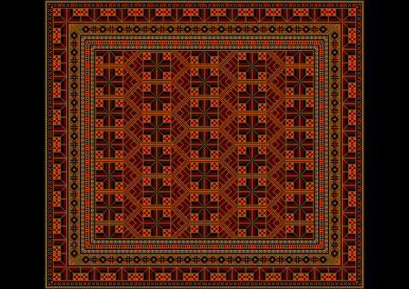 dirty carpet: Geometric ornament of rhombuses in orange and brown shades for carpet Illustration