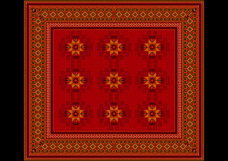 red rug: The delicate pattern of the carpet in red shades with orange details