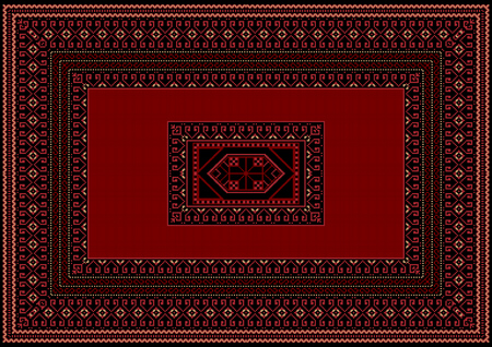 oriental rug: Carpet with red and burgundy details on a black background