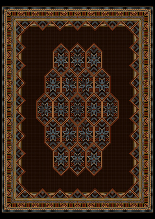 motley: Luxury motley carpet with bright ornaments on brown center